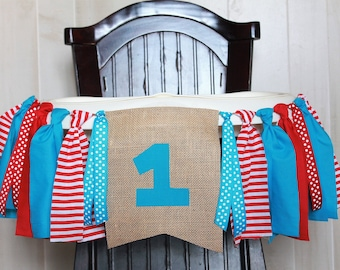 Blue and Red Birthday Garland, High Chair Garland, High Chair Banner