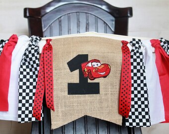 Cars Birthday Garland, Cars High Chair Garland, Racing High Chair Banner