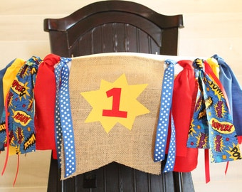 Superhero Birthday Garland, High Chair Garland, High Chair Banner
