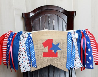 Fourth of July Birthday Garland, High Chair Garland, High Chair Banner