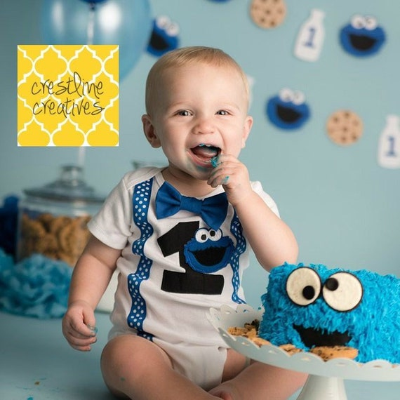 Cookie Monster 1st Birthday Cookie Monster Cake Smash Outfit Baby Boy First Birthday Outfit Sesame Street Party First Birthday Boy