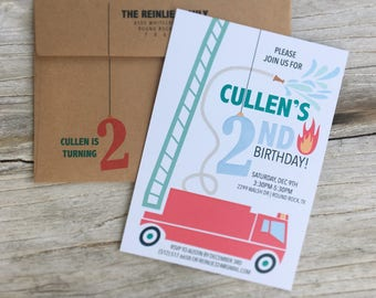Fire Truck Birthday Invitations - INVITATION ONLY
