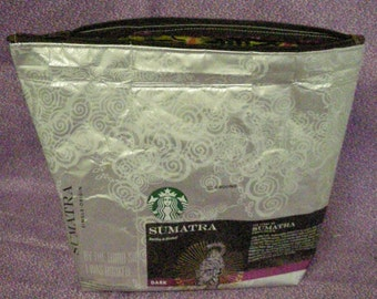 Recycled Starbucks Zipper bag