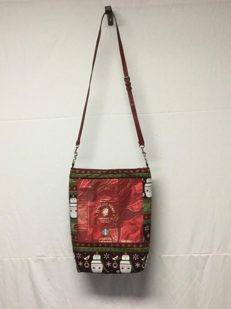 Recycled coffee bag tote Starbucks espresso Christmas blend