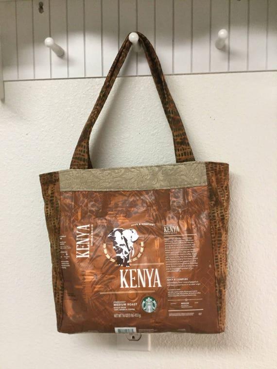 Recycled Starbucks Coffee Bag Purse Etsy