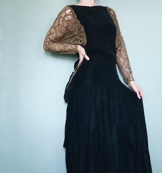 Vtg 30s Black Velvet Evening Gown Old Hollywood Lace Etsy