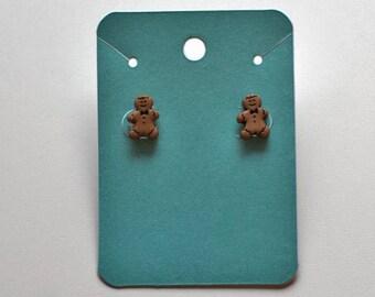 Tiny Christmas Gingerbread Man Stud Earrings