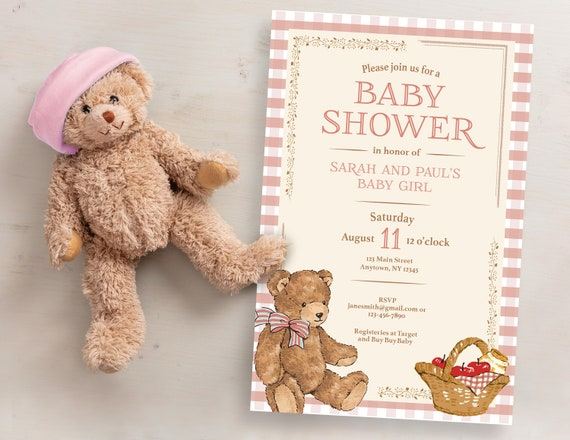 Unisex Baby Teddy Bear Theme Cards 20 Baby Shower Invitations Party Invites