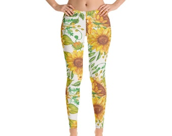 Sunflower Leggings, Floral Leggings, Spring Yoga Pants, Sunflowers Athleisure Activewear. Floral Outfit for Girls and Women.