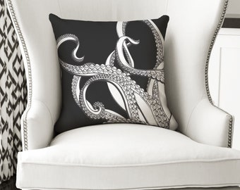 18x18 Octopus Pillow - Beach Decor - Black and White Decor Pillow or Pillow Cover - Nautical Pillow - Nautical Decor - Nautical Gifts