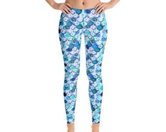 5ef9b12a9e011 Mermaid Leggings, Mermaid Scales Leggings, Graphic Leggings, Mermaid Yoga  Pants, Yoga Leggings, Yoga Pants, Spring, Leggings, Workout Pants