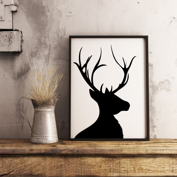 photo regarding Printable Deer Head Silhouette identified as Printable Deer Brain Silhouette, Buck Silhouette Artwork Print