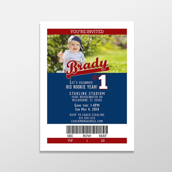 Custom Baseball Birthday Party Invitations Boy