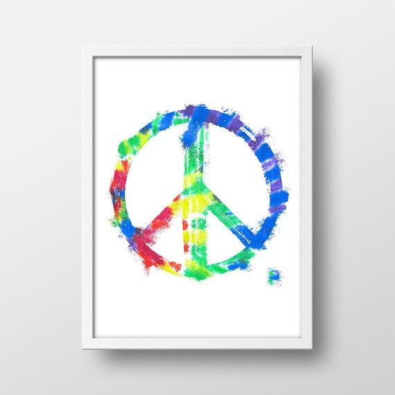 Rainbow Peace Sign Art Print Peace Sign Decor Peace Wall Art 8