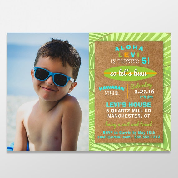 Boys Surf Or Luau Birthday Invitations Boy