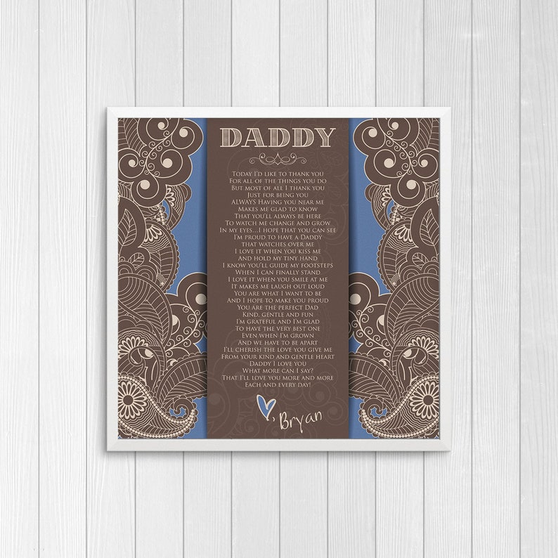 Personalized Fathers Day Poem from Baby Boy  Gift from Baby image 0