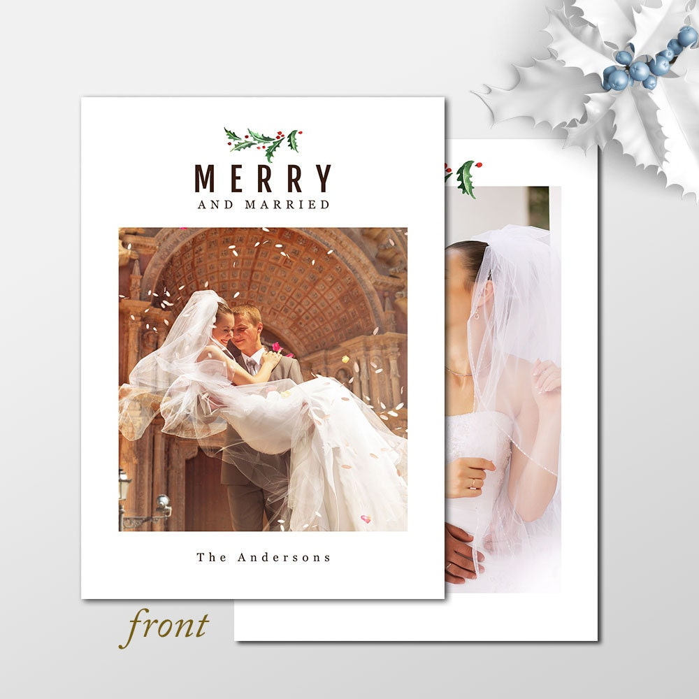 Merry and Married Newlywed Christmas Card Holiday Photo | Etsy