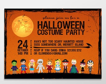 Kid's Halloween Costume Party Invitations, Halloween Invites, Halloween Bash, Halloween Invitations - PRINTED / PRINTABLE - Halloween Party