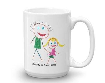 Kids Artwork Keepsake Mug for Father's Day or Mother's Day, Child's Artwork Keepsake, Child's Drawing on a Coffee Mug, Kid's Art Mug Gifts