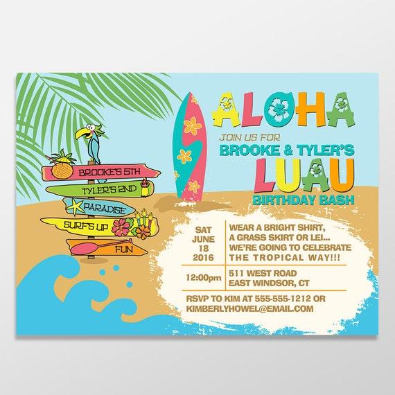 Kids Luau Birthday Invitations Girl Or Boy