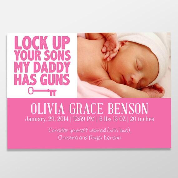 custom birth announcement baby girl birth printable baby girl announcement Digital birth announcement baby announcement