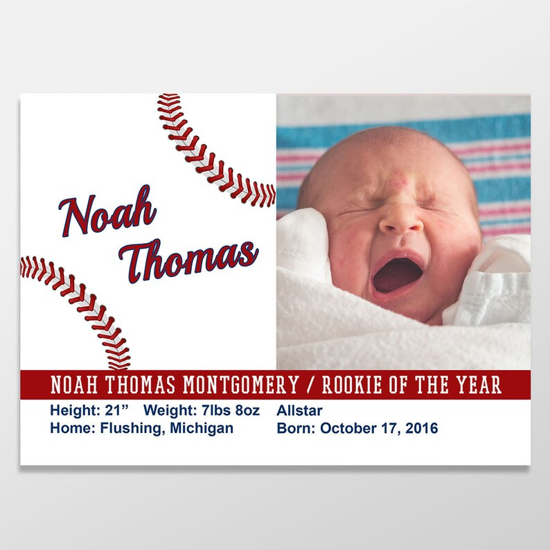 Custom Digital Baby Boy Birth Announcement  Baseball Photo image 0
