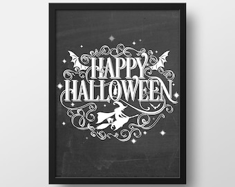 Happy Halloween Print - Halloween Art Print - Halloween Decor - Fall Decor - Art Prints - Halloween Printables - Instant Download - 8x10