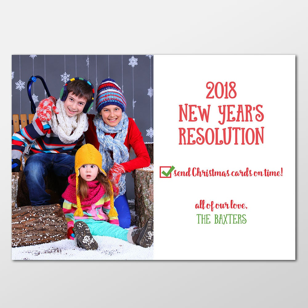 Custom Belated Holiday Card Funny New Year's Resolution