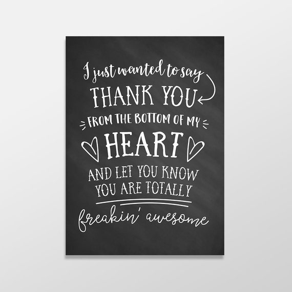 Funny Thank You Card Chalk Thank You Card Funny Greeting Card You