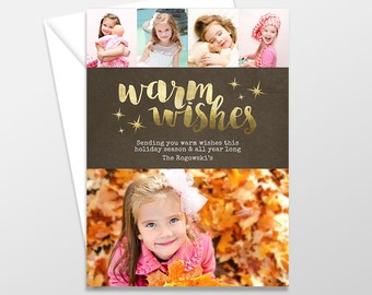 Custom Holiday Card, Holiday Photo Cards, Photo Christmas Cards PRINTABLE / PRINTED - Xmas Greeting - Golden Warm Wishes Holiday Card