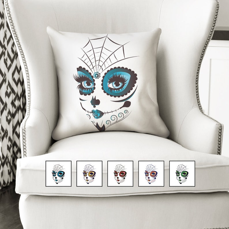 18x18 Sugar Skull Halloween Pillow  Halloween Decorations  image 0