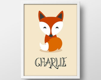 Fox Woodland Nursery Decor - Personalized Fox Art Print - Baby Name Decor - Fox Print 8x10  11x14 16x20 - Modern Nursery - Custom Fox Print