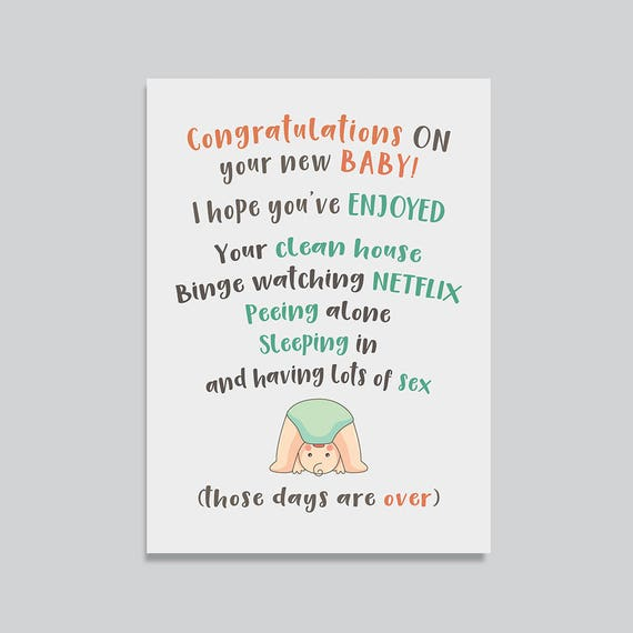 Funny New Baby Card Card For Pregnant Friend Funny New Parents Card Baby Shower Card Funny Expecting Card Say Goodbye Card By Splendid Street Press Catch My Party