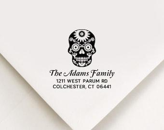 Sugar Skull Return Address Stamp Halloween Address Stamp Self Inking Stamp Custom Address Stamp Birthday Christmas Housewarming Realtor Gift