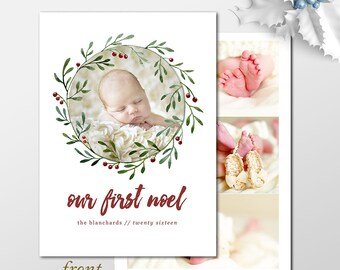 Our first noel holiday photo cards announcing new baby, First noel photo Christmas cards PRINTABLE or PRINTED holiday cards