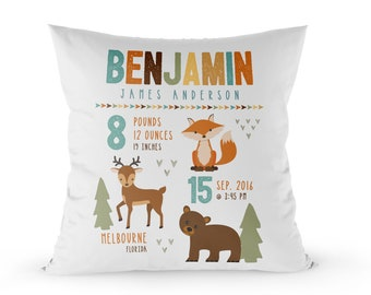 woodland birth announcement pillow, woodland baby announcement keepsake newborn gift, new baby gift, birth stats pillow, personalized pillow