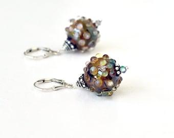 Lampwork Earrings - Princess Earrings - Glass Earnings - Silver Earrings