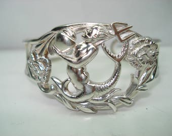 Devil Sterling Silver Detailed Cuff Bracelet