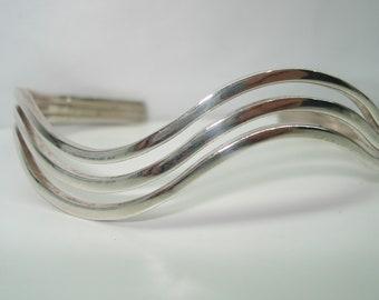 Triple Wave Sterling Silver Fancy Cuff Bracelet