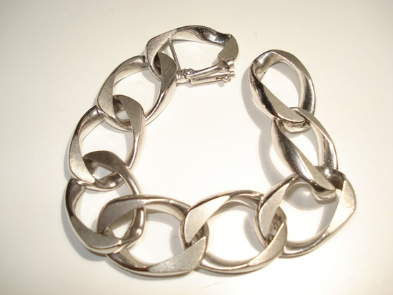Uno A Erre Italy Sterling Silver Wide Cuban Link B