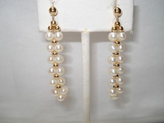 14Kt Gold Dangling Pearl Pierced Earrings