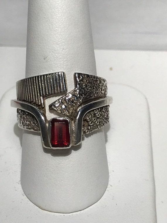 Brutalist Sterling Silver Garnet Ring Size 9