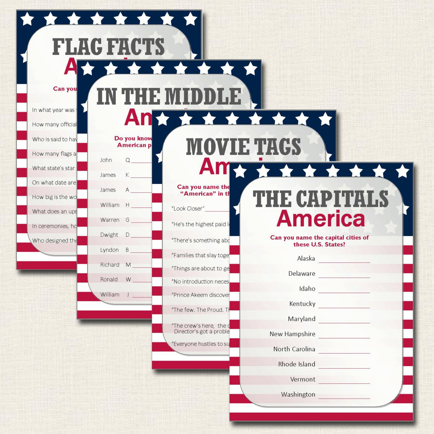 image regarding 4th of July Trivia Printable known as 4th of July Game titles - Patriotic United states The us Quiz Playing cards - Immediate Obtain PDF Printable Record - Liberty Thanksgiving Flag Working day - Entertaining