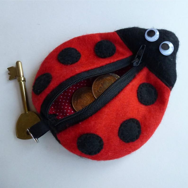 Printable Pattern  Ladybug Key Chain Coin Purse Bag Wristlet image 0