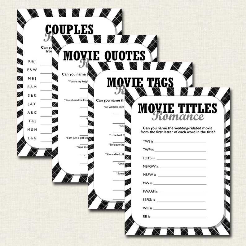 4 x Hen Party Bridal Shower Games - Black on White - Print on Any Colored  Paper - DIY Instant Download Printable PDF File - Fun Romance Quiz