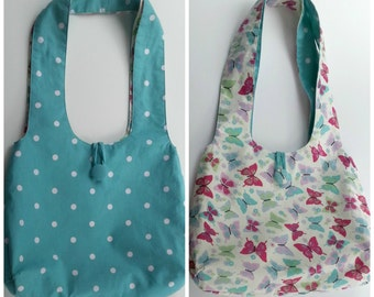 Reversible Hobo Bag Tote Purse Pattern - Instant Printable PDF Sewing Pattern Download - Easy Versatile