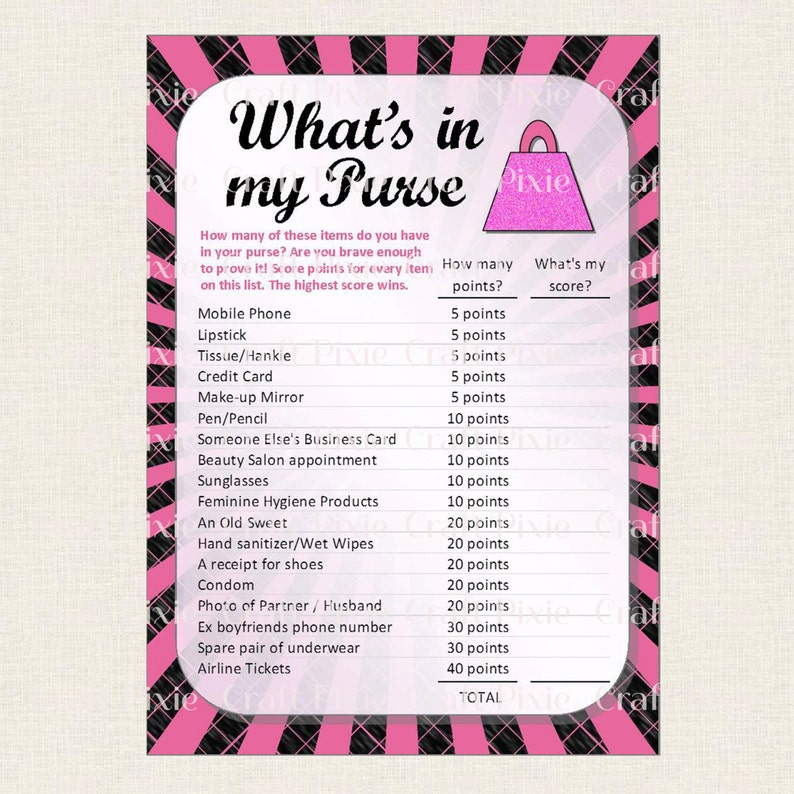Printable Hen Party Bridal Shower Bachelorette Wedding Game - What's in my  Purse - DIY Instant Download PDF File - Fun Ice Breaker Quiz