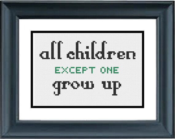All Children Except One Grow Up Peter Pan Disney Pdf Etsy
