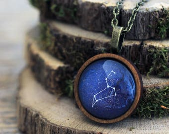 Leo Necklace, Leo, Leo Constellation, Zodiac Necklace, Leo Zodiac Pendant, Constellation Necklace, Wooden Necklace, Space Necklace, Galaxy