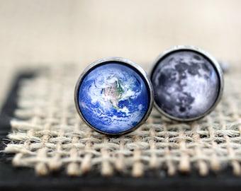 Earth and Moon Cufflinks, Earth Cufflinks, Moon Cufflinks, Science Jewelry, Space Jewelry, Space Cufflinks, Space Wedding, Science Wedding